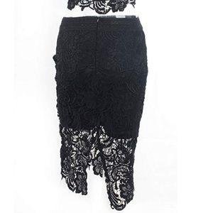 Skirts - 2 Piece Lace Crop Top & Skirt